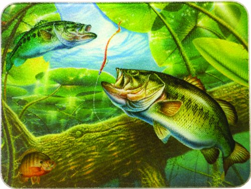 River's Edge Tempered Glass Cutting Board with an Image of a Beautiful Bass Swimming in a Clear Pond (Bass Fish, ()