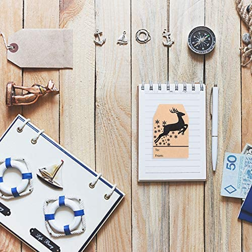 Etiquetas Etiqueta de Navidad,360 piezas 1 rollo Kraft Etiqueta de Pegatinas Etiquetas autoadhesivas /Árbol de Navidad Navidad Natural Kraft Pegatinas para frascos,Navidad Etiquetas