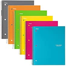"Five Star Spiral Notebooks, 1 Subject, College Ruled Paper, 100 Sheets, 11"" x 8-1/2"", 6 Pack (38057)"