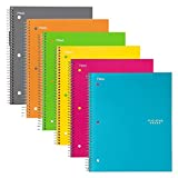 "Five Star Spiral Notebook, 1 Subject, College Ruled Paper, 100 Sheets, 11"" x 8-1/2"", Assorted Colors, 6 Pack (38057)"