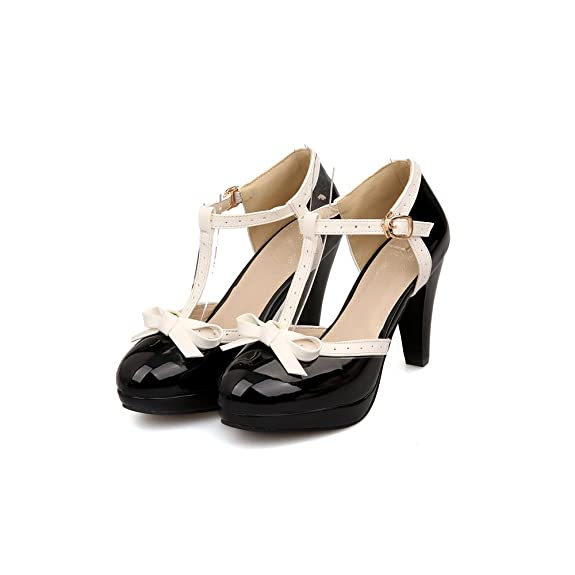 Pin Up Shoes- Heels, Pumps & Flats Lucksender Fashion T Strap Bows Womens Platform High Heel Pumps Shoes $37.99 AT vintagedancer.com