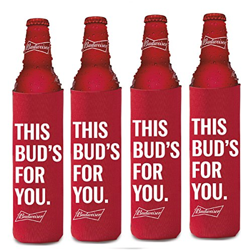 BUDWEISER 16oz Beer SLIM BOTTLE Cooler Coolie Hugie Water - 4 Pack - Budweiser Bottle