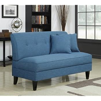 Amazon Com Portfolio Engle Caribbean Blue Linen Armless