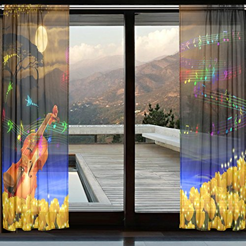XMCL Lace Sheer Curtains Decorative Long Extra Wide 2 Panels for Living Room Bedroom Kids ()