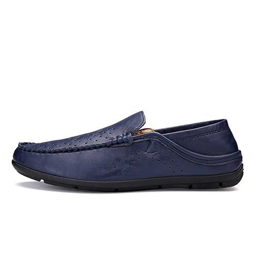 Versión coreana de hueco zapatos casuales transpirables en verano/Zapatos casuales de negocios/Ronda pies tapones cómodos zapatos de conducción-E Longitud del pie=24.8CM(9.8Inch) FX0nQahcA