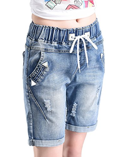 Light Blue Jeans Knee PHOENISING Fabric Stretchy Shorts Women's Long Washed Denim zO7U1q