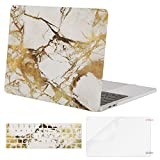 gold bar display case - Mosiso MacBook Pro 13 Case 2017 & 2016 Release A1706/A1708, Plastic Pattern Hard Case Shell with Keyboard Cover with Screen Protector for Newest MacBook Pro 13 Inch, White and Gold Marble
