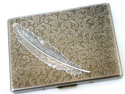 Glazed Black Cherry Steampunk Metal Angel Feather Cigarette Case Slim Wallet Large Card Case ASS2 (Gold Metal Cigarette Case)