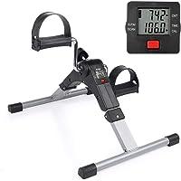 AGM Mini Vélo d'Appartement à Pédale Pliable pour Entraîner Bras Jambes Pédalier Vélo d'Exercice Cardio Digital pour Entraînement Fitness GYM avec Écran LCD Résistance Réglable Exerciseur à Pédale