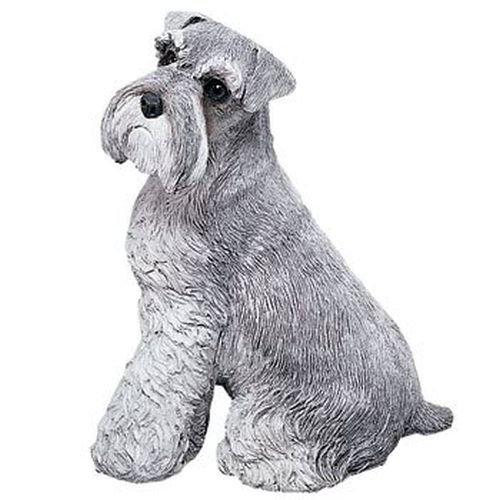 - Sandicast Original Size Gray Schnauzer Sculpture - Sitting