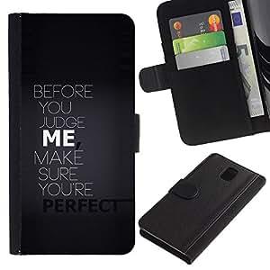 KLONGSHOP // Tirón de la caja Cartera de cuero con ranuras para tarjetas - Antes de juzgar yo tipografía - Samsung Galaxy Note 3 III //