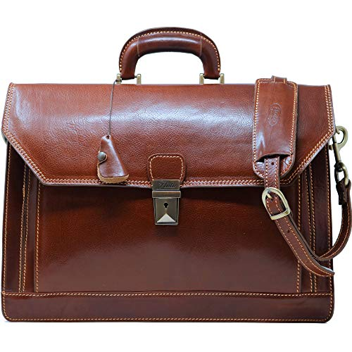 (Floto Venezia Vecchio Brown Briefcase Attache Lap-top Case)