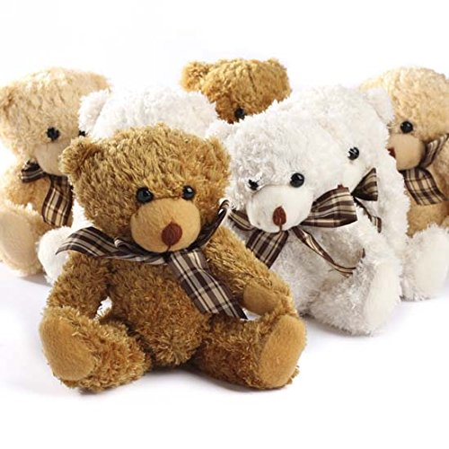 (Adorable Fuzzy Furry Jointed Teddy Bears with Plaid Bow- Set of)