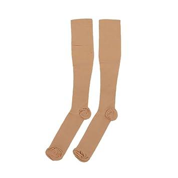 fairylove rodilla alta medias compresión apoyo calcetines antifatiga, skin color, L/XL