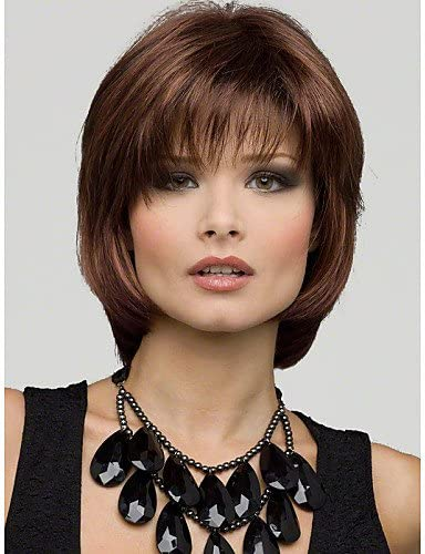 BBDM moda bobo castaño corto pelucas naturales 100% peluca ...