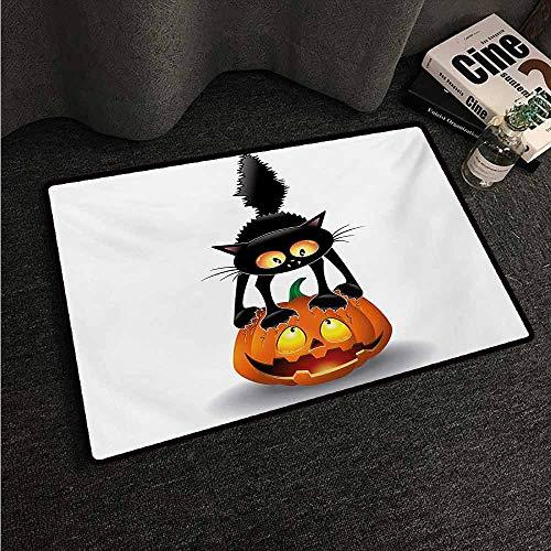 HCCJLCKS Non-Slip Door mat Halloween Black Cat on Pumpkin Drawing Spooky Cartoon Characters Halloween Humor Art with Anti-Slip Support W35 xL47 Orange Black]()