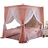 XRXY Mosquito Net Stitching Color Simple Double Bed Mosquito Net/Encryption Thicken with Bracket Stable Anti Mosquito Cover/Practical Floor-Standing Extended Bed Mantle (5 Colors Available)