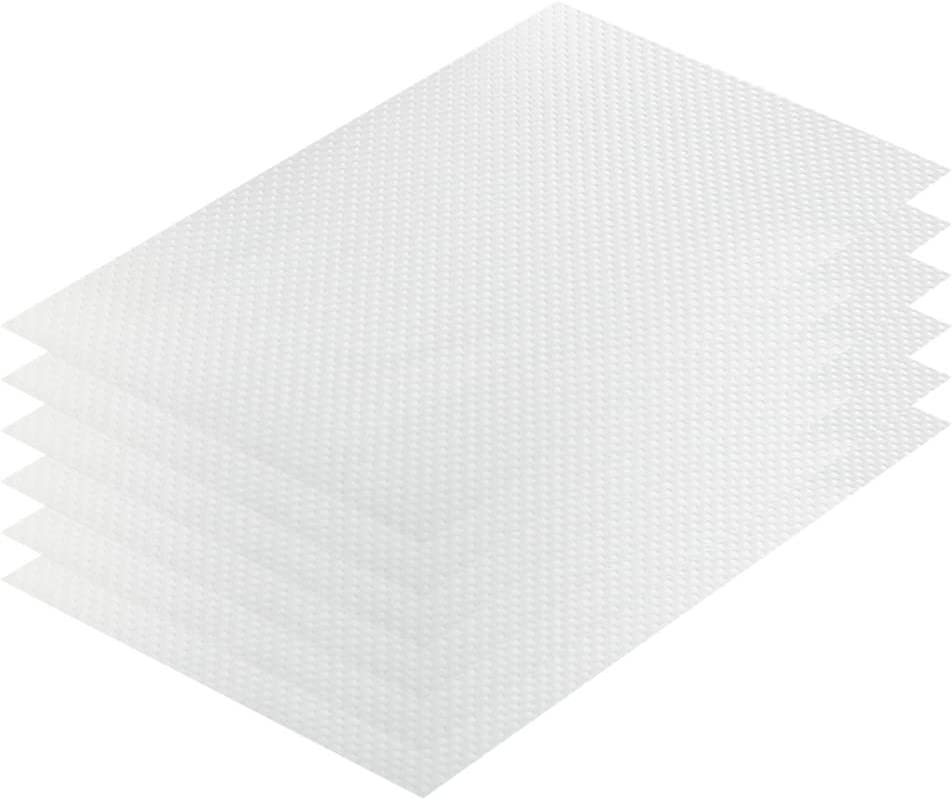 Refrigerator Mats Liner Washable Can Be Cut Non-Adhesive Durable Soft Fridge Drawers Liners, Fruit and Vegetable Fridges Pads 11.4 x 17.7 Inch Clear 6PCS
