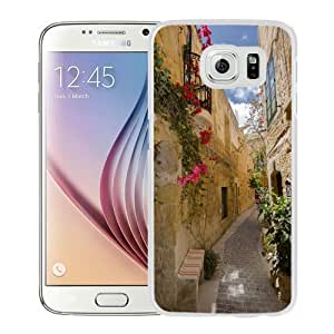 NEW Unique Custom Designed Samsung Galaxy S6 Phone Case With Old City Alley Flowers_White Phone Case