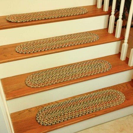 Rhody Rug KA53A008X028-13 Katie Multi Braided Stair Tread, Camel - Set Of - Braided Rug Set