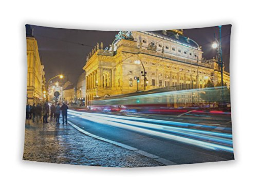 Gear New Wall Tapestry For Bedroom Hanging Art Decor College Dorm Bohemian  Evening View National Theater Prague From Legion Bridge Long  60X51