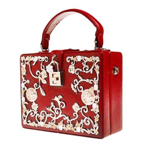 sera Kofun Donna Borse Borsa donna per Fiori a Moda la borse Hollow tracolla per Intagliati Lock Rosa festa nuziale Rosso da x46ErP4