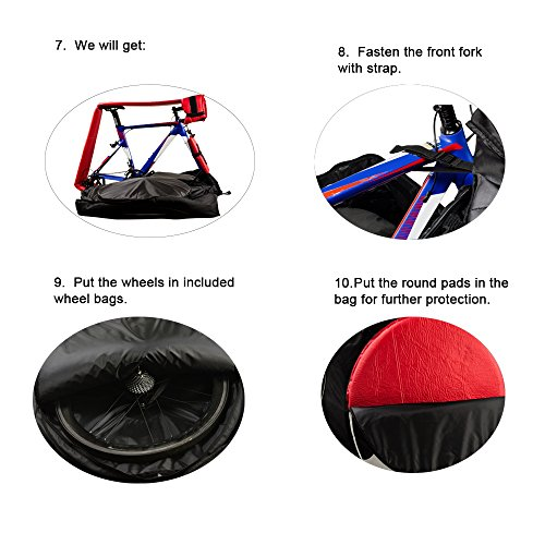 Lixada Automatically Inflatable Pad Bike Transport Travel Bike Carry Bag Nylon Pad Bag for 700C Road Bike by Lixada (Image #3)'