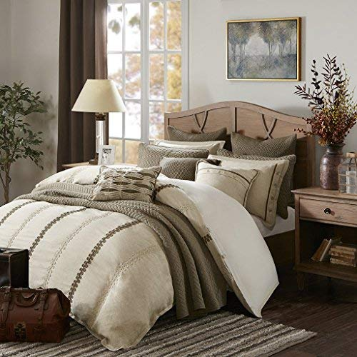 Madison Park Signature Chateau King Size Bed Comforter Duvet 2-In-1 Set Bed In A Bag - Taupe , Soutache Cord Embroidery - 9 Piece Bedding Sets - Faux Linen Bedroom Comforters ()