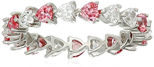 Platinum-Plated Sterling Silver Swarovski Zirconia Red White Heart All-Around Band Ring, Size 7