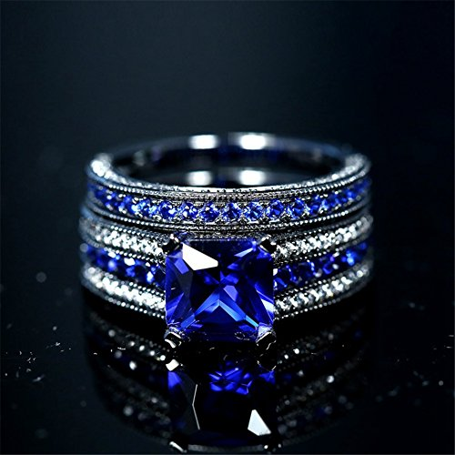 e9bc6ac874 LOVERSRING Couple Ring Bridal Set His Hers Black Gold Plated Blue CZ  Stainless Steel Wedding Ring