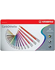STABILO 1460-6 Carbothello Chalk-Pastel Coloured Pencils, Metal Box, Pack of 60