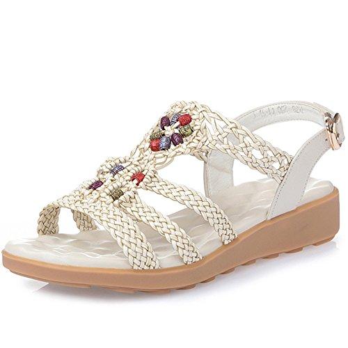XIAOLIN サマーサンダルフラットサンダルフラットボトムヒール学生靴レザーソフトボトムサンダルラージサイズシューズ(オプションサイズ) (色 : 01, サイズ さいず : EU37/UK4.5-5/CN37)