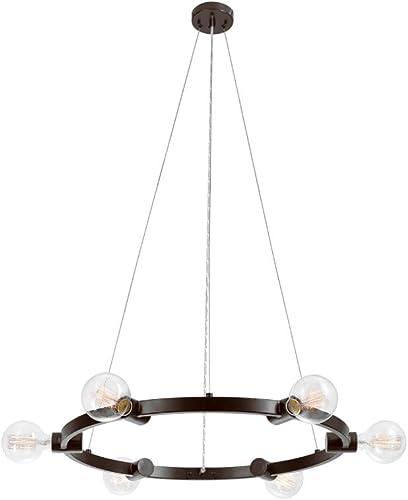 Globe Electric Hank 6-Light Chandelier, Dark Bronze Finish 65983, 0