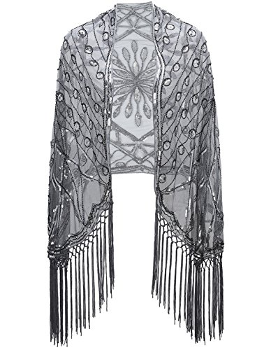 Metme Women's 1920s Scarf Wraps Sequin Deco Fringed Wedding Cape Evening Shawl Vintage ()