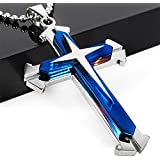 Unisex Men Stainless Steel Cross Blue Silver Pendant Necklace Chain Jewelry Gift#by pimchanok shop (Blue + Silver)