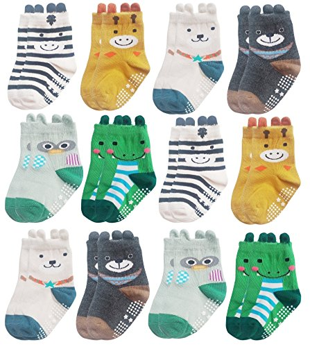 Deluxe Anti Non Skid Slip Animal Crew Socks With Grips For Baby Toddler Girls (9-18 months, (Fancy Dress Free Delivery)