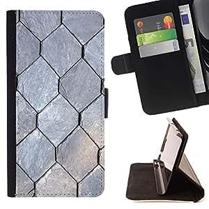 For Samsung Galaxy S4 IV I9500 Case , Patrón Libertad Hexágono Gris- la tarjeta de Crédito Slots PU Funda de cuero Monedero caso cubierta de piel