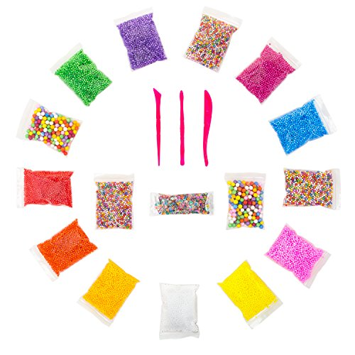 Large And Tiny Foam Beads For Slime For Kids And Adult (16 Pack)