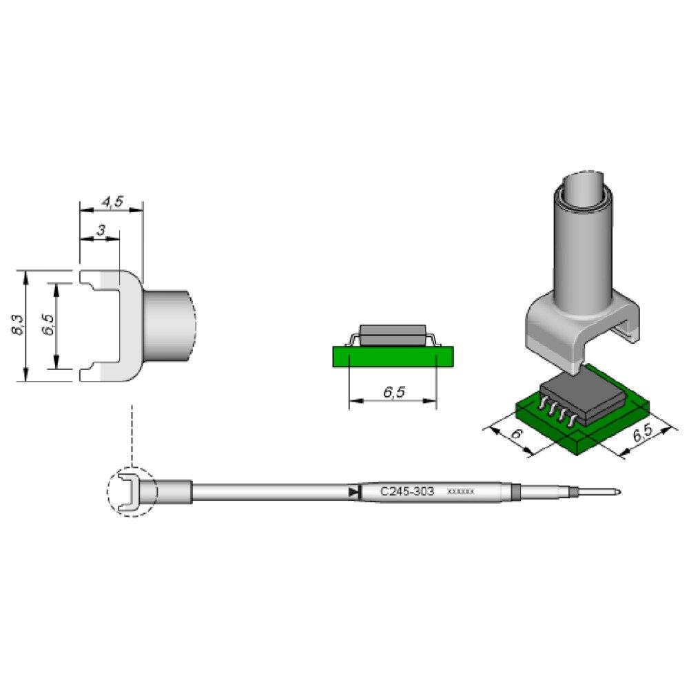 JBC C245303 SMD-Entl/ötspitze f/ür T245