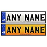 Coolrideplates 15cm x 4cm Kids Personalised Self Adhesive Number Plate Stickers For Ride-on cars