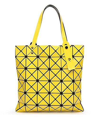 Kayers Sulliva Womens Fashion Geometric Plaid Tote Bag Glossy PU Leather Shoulder Bag Top-handle Handbags (Yellow)