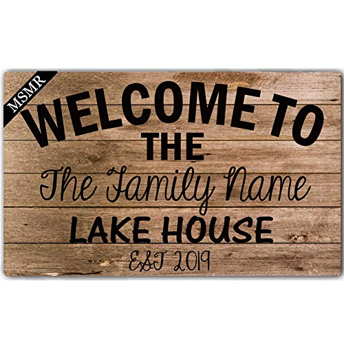 MsMr Personalized [Your Name] Indoor Outdoor Doormat Custom Doormat Monogram Design Home Office Welcome Mat Welcome to The Lake House Est 2019 Door Mat 30