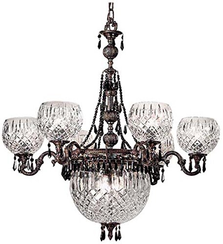 Classic Lighting 55536 OX CBK Waterbury, Cast Brass and Lead Crystal, Chandelier, Oxidized Bronze