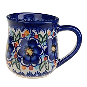 BCV Classic Boleslawiec, Polish Pottery Hand Painted Ceramic Mug 300ml, 053-U-097