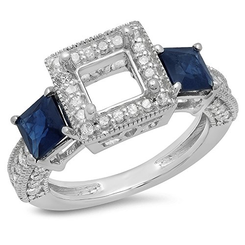 18K White Gold Princess Cut Blue Genuine Sapphire & Round White Diamond Semi Mount Engagement Ring