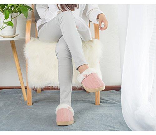 L-RUN Frauen Baumwolle Haus Hausschuhe Gestrickte Anti-Slip Herbst Winter Hallenschuhe Rosa