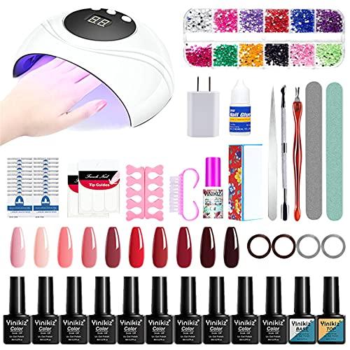 UV LED Nail Lamp, Nail Art Gel Kit Acrylic False Finger Pump Glue Art Pusher Tool Kit 8 10ml(C)
