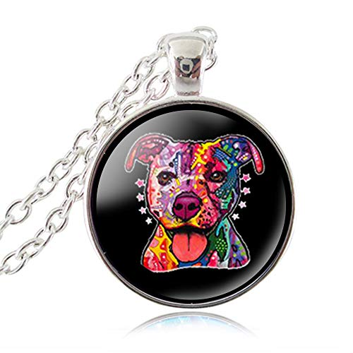 American Pit Bull Rescue - LUOR Trade Co.,Ltd Pit Bull Dog Necklace, American Pitbull Pendant,Terrier Pet Puppy Rescue Chain Necklace, Bulldog Jewelry for Animal Lover Accessories (Silver Plated)