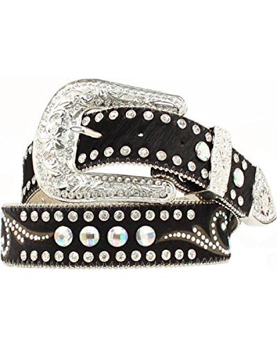 - Nocona Women's Hair On Hide Rhinestone Accents Belt, Black, XL
