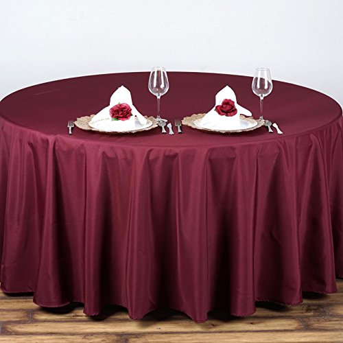 "BalsaCircle 90"" Round Polyester Tablecloth Wedding Table Linens - Burgundy"